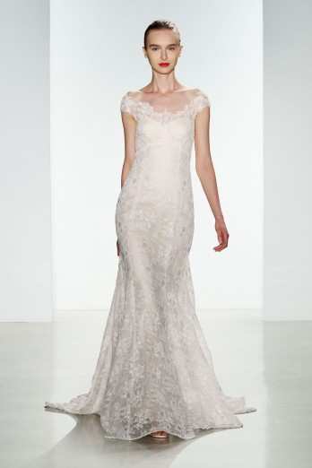 lace fit to flare wedding dress with off the shoulder detail by christos bridal