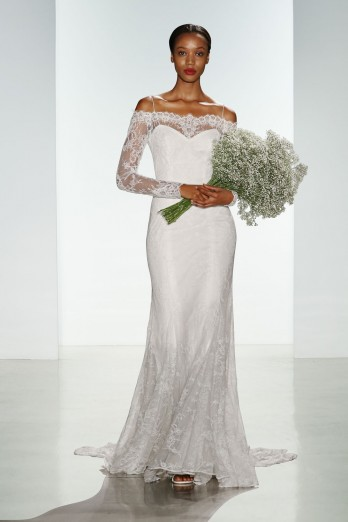 long sleeve lace off the shoulder christos bridal wedding dress