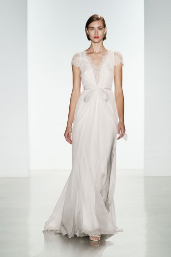silk chiffon wedding dress with lace sleeves by christos bridal