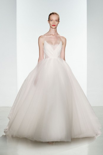 christos bridal ballgown with tulle skirt and lace bodice