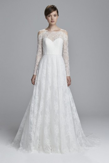 Chantilly lace long sleeve wedding dress