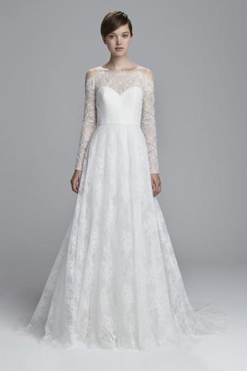 Chantilly lace long sleeve wedding dress
