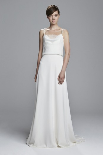 Crepe bridal gown with beaded crystal straps