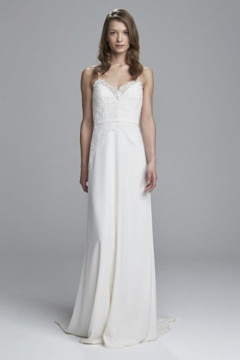 Crepe with lace wedding dress