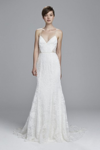 Lace fit to flare wedding gown