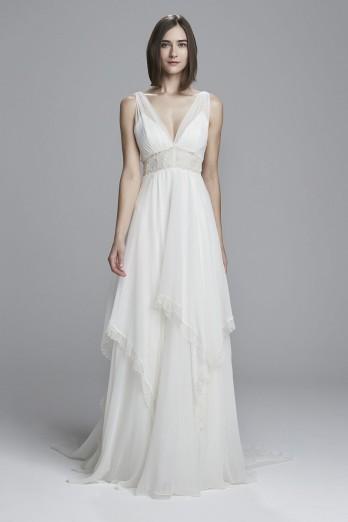 Silk chiffon bridal gown