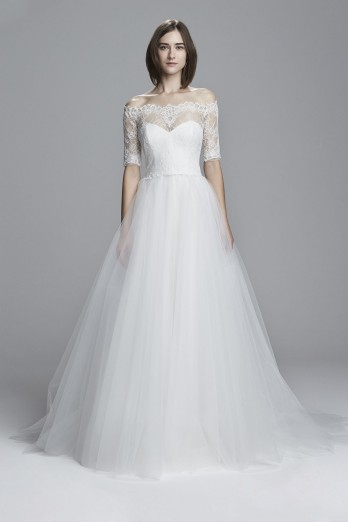 Tulle off the shoulder ball gown with lace sleeve
